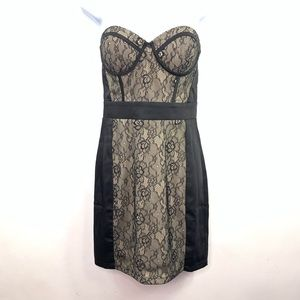 FOREVER 21 Sz Small Black Lace Dress Strapless S